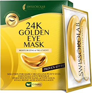 Under Eye Patches For Puffy Eyes 24k Gold Eye Mask For Dark Circles And Puffiness Collagen Eye Gel Pads Moisturizing & Red...