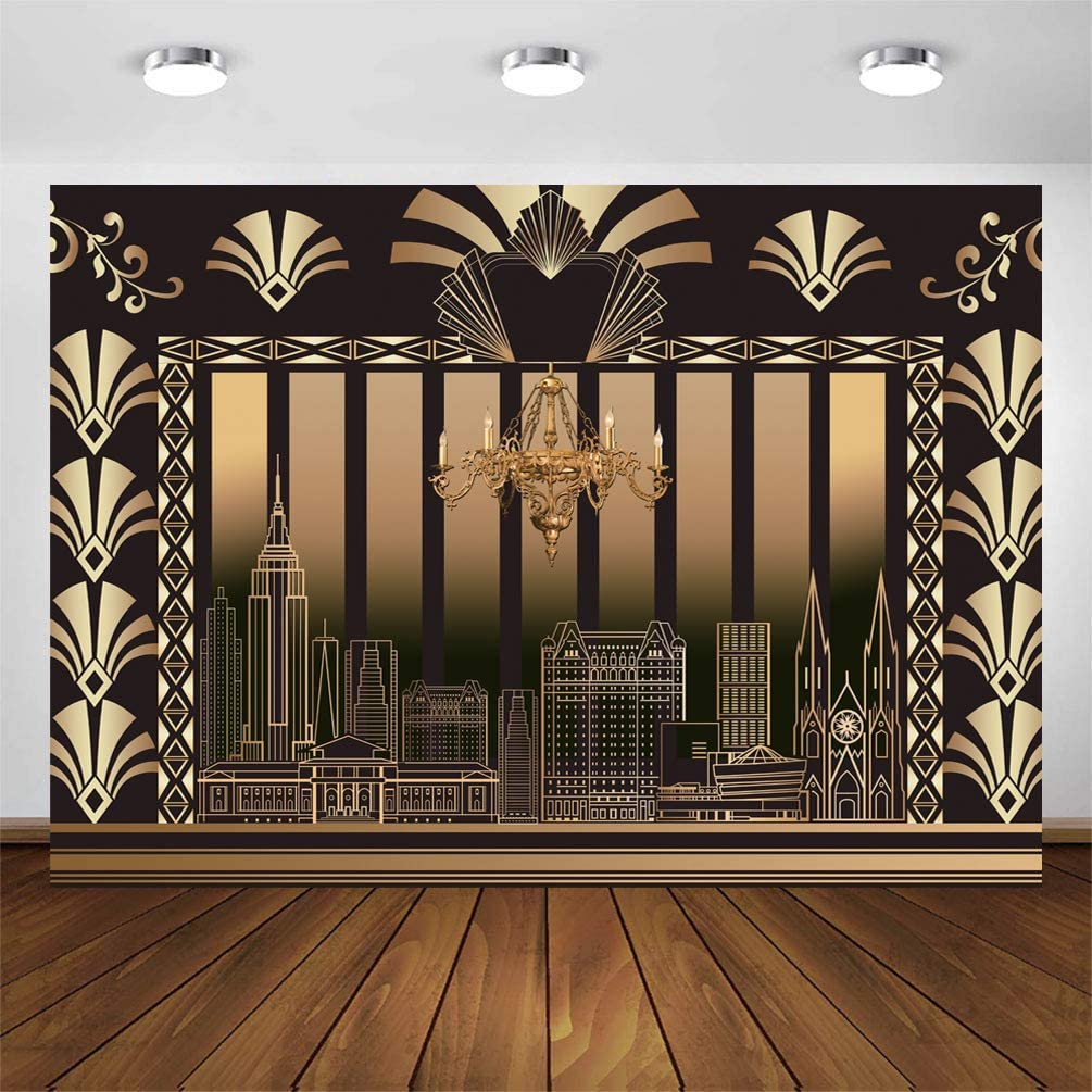 CYLYH 8x6FT The Great Gatsby Background 20s Party Art Decor Vintage Dance Birthday Wedding Party Decoration Adult Birthday Background D418