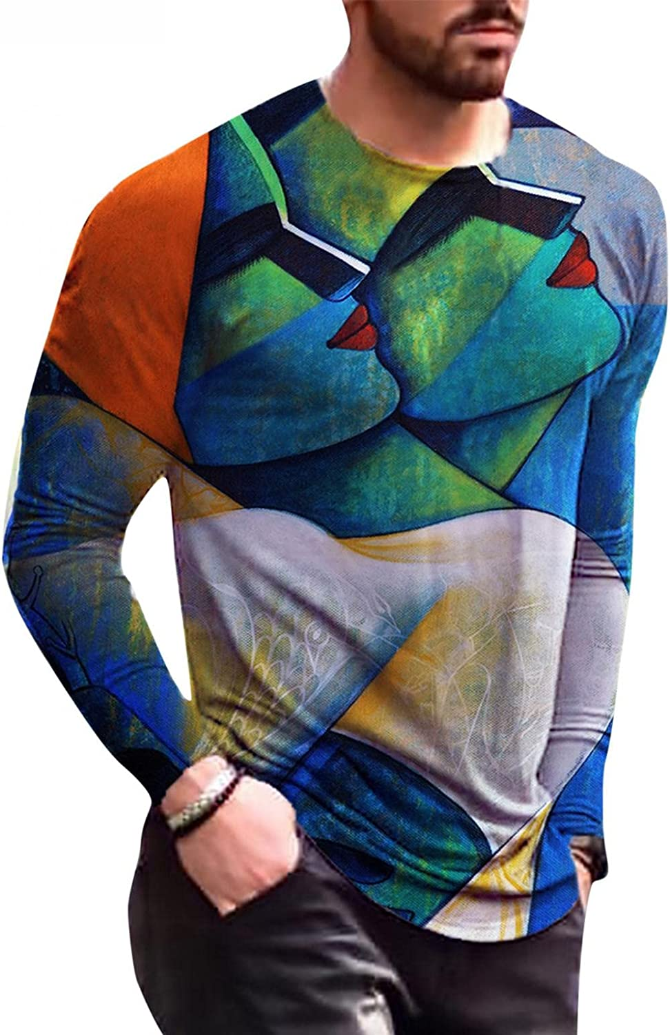 Men T-Shirts Painting Printed 3D Abstract Graphic Tee Casual Round Neck Long Sleeve Tops Workout Sport Men's T Shirts