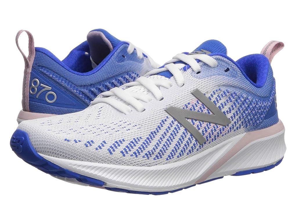 [ニューバランス] レディースランニングシューズ?スニーカー?靴 870v5 White/Vivid Cobalt 12 (29cm) D - Wide [並行輸入品]