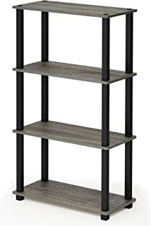 FURINNO Turn-S-Tube 4-Tier Multipurpose Shelf Display Rack, Square, French Oak Grey/Black