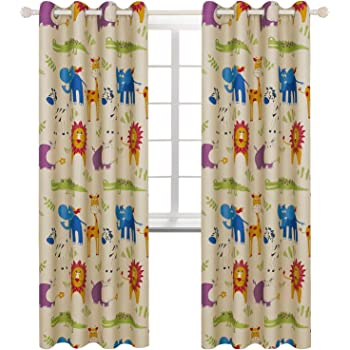 66 x 72 inch Forest Friends Themed Animal Design Matching Kids Curtains and Bedding Sets Smoobery Mill Reversible Kids Curtains