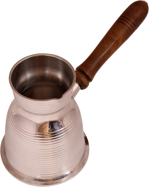 diollo Premier Lined Solid Brass Turkish Greek Arabic Coffee Pot Stovetop Coffee Maker Cezve Ibrik Briki with Wooden Handle 16 OZ