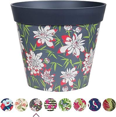 Hum Flowerpots, Grey Bamboo Floral Plant Pot, Outdoor/Indoor Planter…