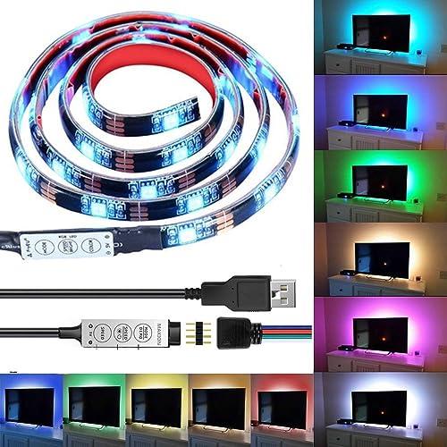 Bande LED USB Rétroéclairage TV,Makion 100cm / 3.28ft multi-couleurs 30leds flexible 5050 USB RGB LED bande de lumière avec le câble USB 5v et Mini Controller pour TV/PC