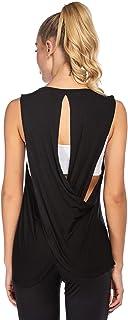 COOrun Yoga Shirt Women's Workout Tank Top Loose Open Back Cross Tee Sleeveless Athletic Tanks(S-XXL)