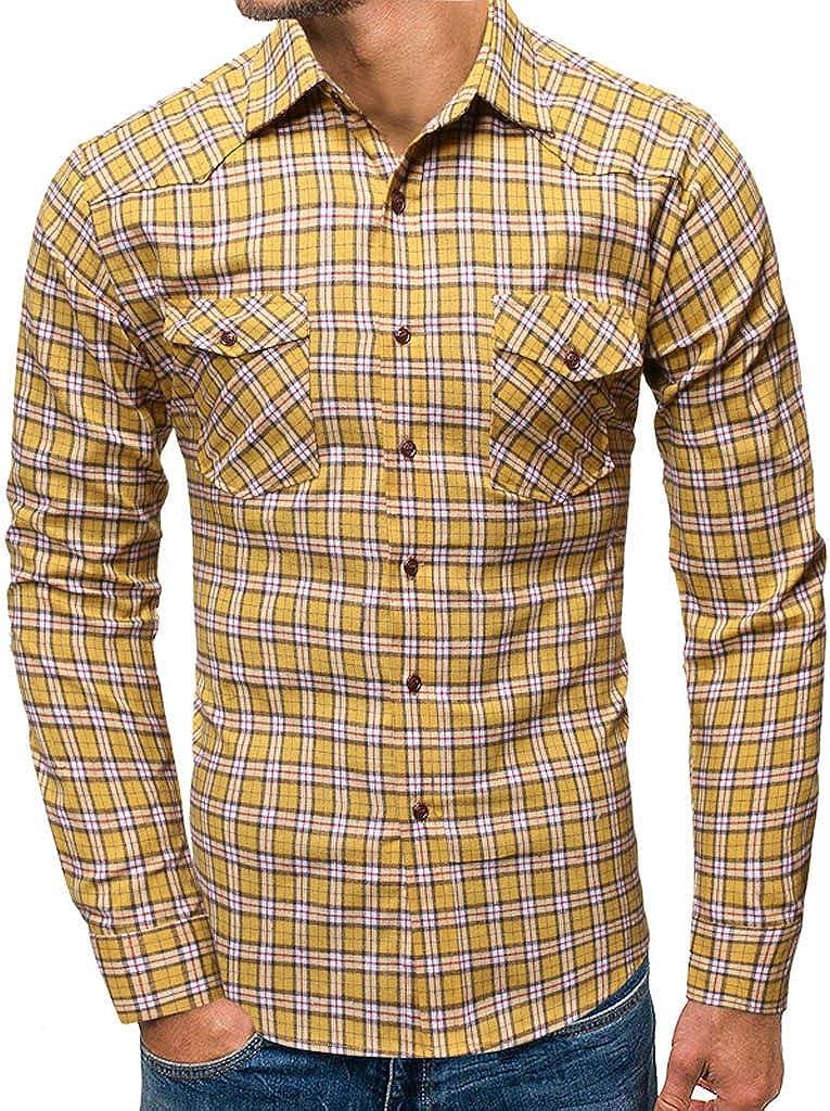 MODOQO Men's Long Sleeve Regular Fit Plaid Button Down Shirt Top for Fall Autumn