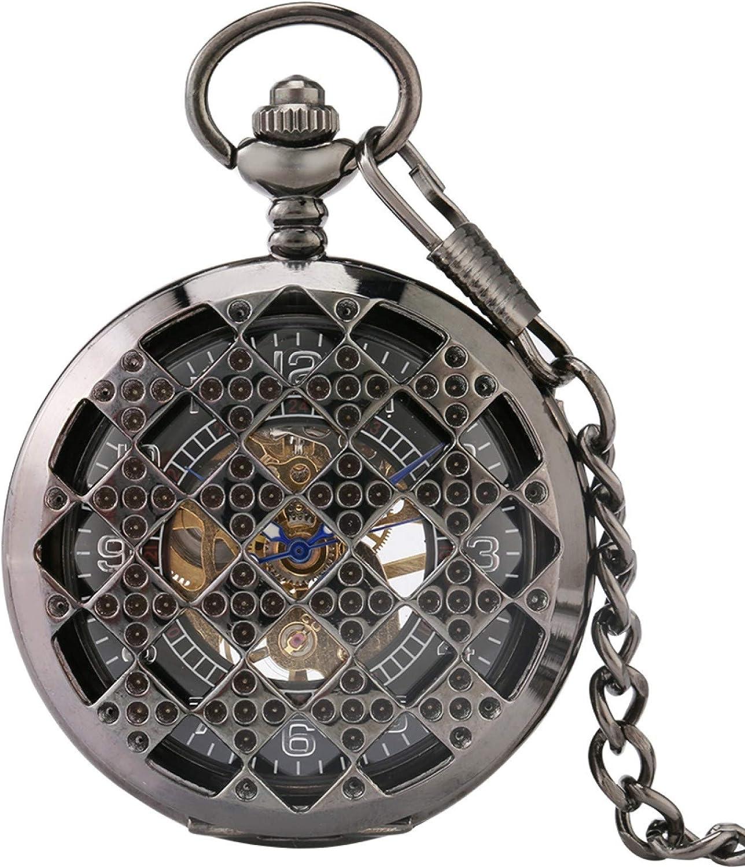 ZHAOXIANGXIANG Reloj De Bolsillo Retro,Reloj De Bolsillo Mecánico con Cara Digital Hueca De Rombo Regular, Reloj De Bolsillo con Cadena De Cuerda Manual, Regalos para Hombres, Mujeres, Navidad