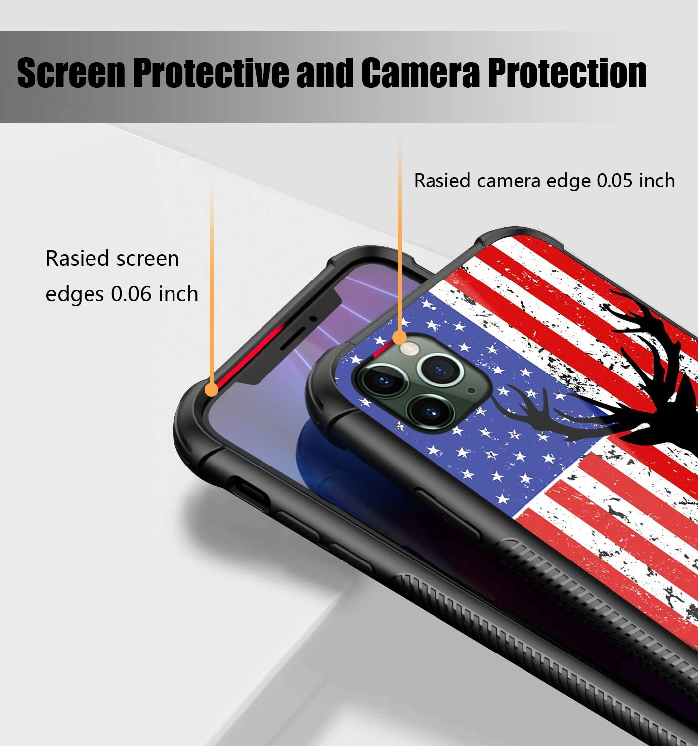 iPhone 11 Case,American Flag Buck Deer Pattern Design Tempered Glass iPhone 11 Cases for Girls Men Womens [Anti-Scratch] Soft TPU Bumper Frame Support Cover Case for iPhone 11(6.1inch)