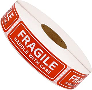 """Methdic Fragile Stickers - 1""""x 3"""" Strong Adhesive Fragile Labels 1 Roll/1000 Labels(Handle with Care,Fragile) Stickers for Shipping and Moving"""