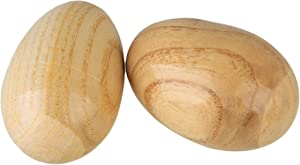 Lovermusic Natural Finish Percussion Wooden Egg Shakers Musical Instrument Tool Pack of 2