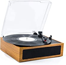 LP&No.1 3 Speed Belt-Drive Bluetooth Turntable with Stereo Speakers, Vintage Vinyl Record Player,Yellow Brown