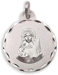Medalla Religiosa - Santa Lucía 21 mm. Plata de Ley 925 milésimas