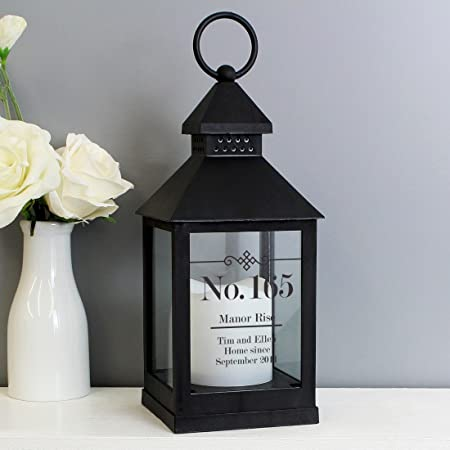 Hestia Wood and Metal Lantern with LED Candle Glitter Family Message