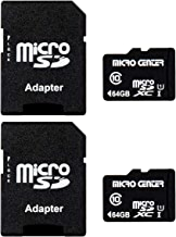 Micro Center 64GB Class 10 Micro SDXC Flash Memory Card with Adapter (2 Pack)