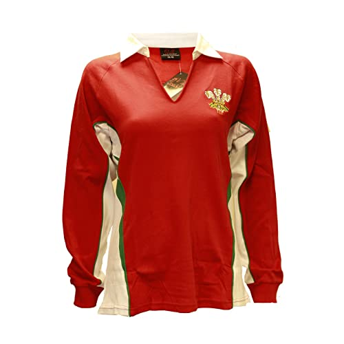 76ecfd0fe5a LADIES WOMENS WELSH CYMRU RUGBY LONG SLEEVE CLASSIC RUGBY V COLLAR COTTON  T-SHIRT TOP