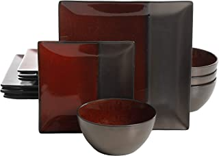 Gibson Elite Decadence 12 Piece Dinnerware Set, Red/Chocolate(Rust Color Dishes)