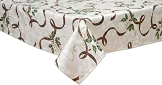 Lenox 7276102OBLMLT Holiday Nouveau Ribbon 60-by 102-Inch Oblong Tablecloth, 60