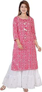 Sanganeri Kurti Womens Cotton Printed Kurta With Sharara Set
