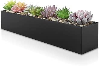 "Modern Black Trough Rectangular Planter | 16"" Metal Window Planter Box for Succulent | Small Rectangle Planter for Desk or Windowsill Planter | Stainless Steel Planter Great Gift Ideas for Women Men"