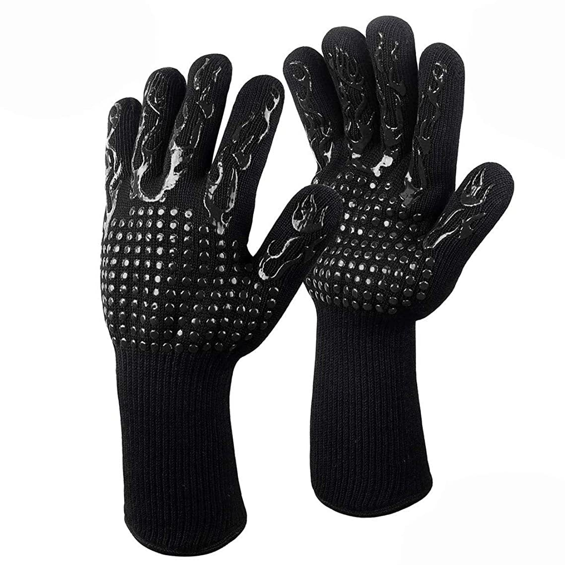 Fitfulvan Grilling Cooking Gloves Extreme Heat Resistant Oven Welding Gloves Rubber Anti-Scald Kitchen Gloves (Black)