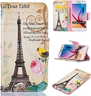 Galaxy S6 Case, Firefish Kickstand PU Leather Wallet Case with Card Slots [Scratch-Resistance] Magnetic Closure Slim Bumper Cover for Samsung Galaxy S6 -Tower