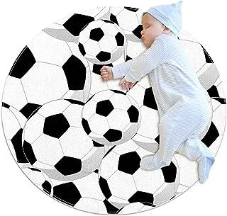 Soft Round Area Rug 100x100cm/39.4x39.4IN Anti-Slip Floor Circle Mats Absorbent Memory Sponge Standing Mat,Soccer Footbal ...