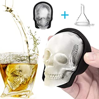 Large 3D Skull Ice Mold, Large Silicone Skull Ice Cube Tray of 400ml Capacity, Durable Black Skull Ice Maker with Funnel for Whiskey, Bourbon, Cocktails, Beer, Perfect for Parties (1pcs)