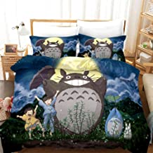 Vampsky Classic Anime Characters My Neighbor Totoro Bedding Sets Duvet Cover Set 3 Piece, Polyester Microfiber 3D Bedroom ...
