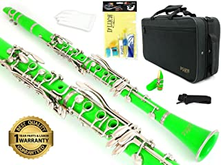 D'Luca 200GR 200 Series ABS 17 Keys Bb Clarinet, Double Barrel, Canvas Case, Cleaning Kit, Green