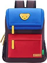 Willikiva Cute Bear Kids School Backpack for Children Elementary School Bags Girls Boys Bookbags (Azure/Red/Coffee, Medium)