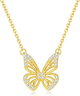 ZLXPRO 14K Gold Plated Cubic Zirconia Necklace | Butterfly Pendant Necklace | 925 Sterling Silver Choker Chain Gold Jewelr...