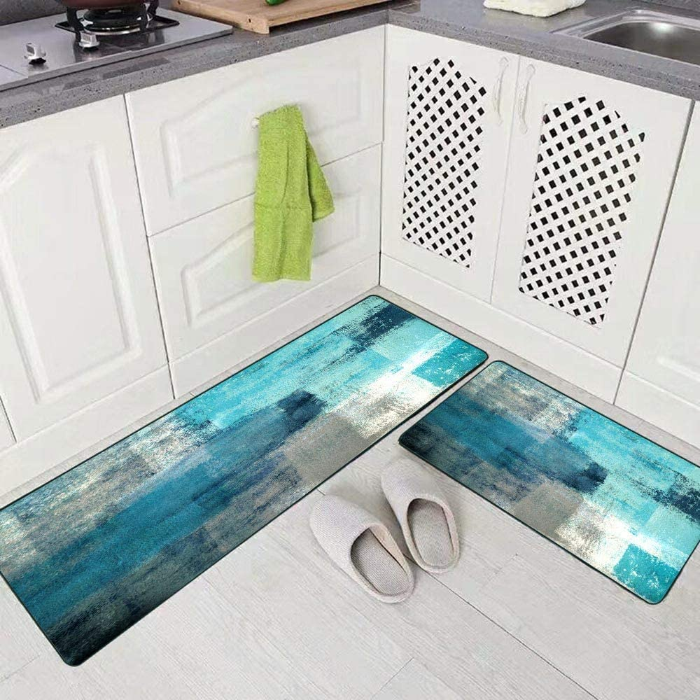 Buy Rugs for Kitchen Floor,TOMWISH Abstract Area Rug Turquoise and ...