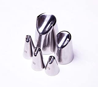 Astra Gourmet 5 Pcs-Set Russian Icing Tips, Flower Piping Nozzle Tips, Petal Tulip Russian Nozzle Stainless Steel (No.79,80,81,402,402L)
