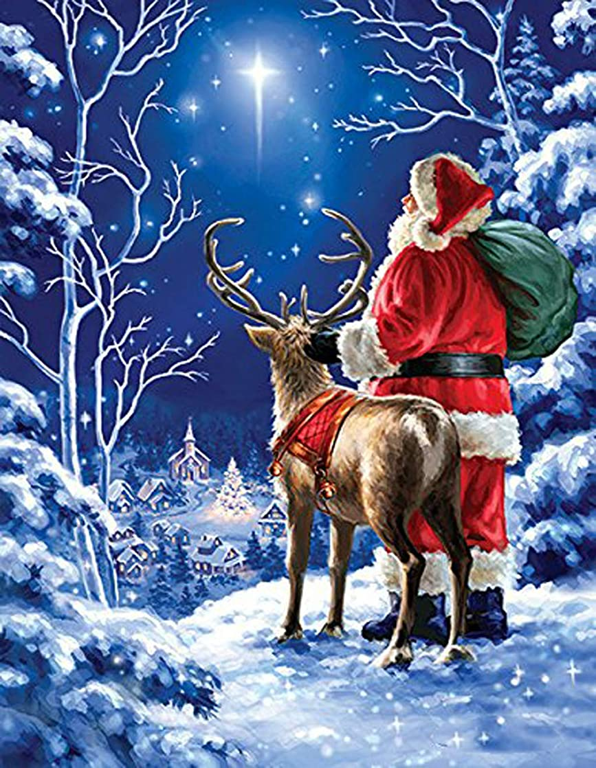 DIY Handwork Store 5D Handmade Cross Stitch Mosaic Full Square Diamond Painting Kits by Numbers Santa Reindeer Gift Kits Diamond Art Craft Gift Embroidery Home Wall Sticker Decorations(15.7