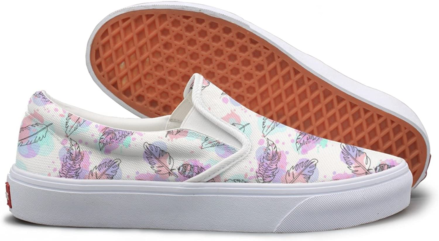 Hand Drawn Feathers White Slip On Canvas shoes For Women