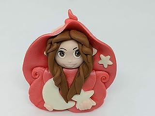 Folletta gnomo elfo DOLCE NOTTE rosa perlato idea regalo handmade personalizzabile con il nome. SI ILLUMINA AL BUIO. Made ...