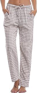 81a0aee9d595b Aibou Unisexe Bas de Pyjama Femme 100% Coton Vêtements de Nuit à Carreaux  Homme Pantalon