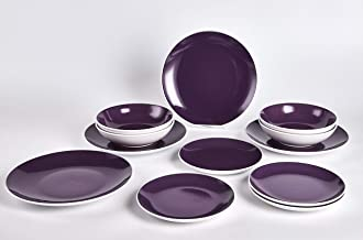 HomeVss Stoneware Coupe Shape 12pc Dinner Set, Outside White + Inside Purple