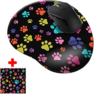 FINCIBO Multicolor Paws Dog Comfortable Wrist Support Mouse Pad for Home and Office with Matching Microfiber Cleaning Cloth for Computer and Mobile Screens