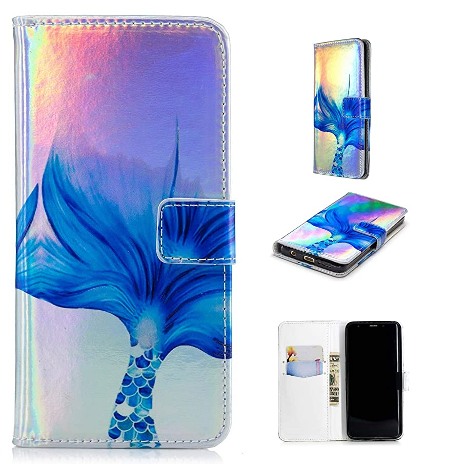 IVY [Relief Design][Kickstand][Colorful] PU Leather Flip Cover Wallet Phone Case for Samsung Galaxy S9 Plus/S9+ SM-G965 - Mermaid
