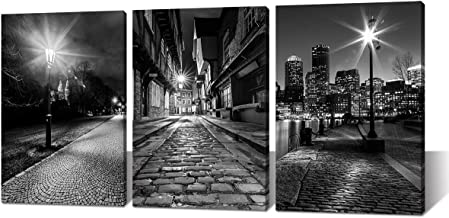 Canvas Wall Art Boston - Black and White Modern Panoramic City Night View Skyline Cityscape Historic Center Prague Street Lights Close-up Picture Painting for Bedroom Living Room Home Decor Framed