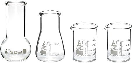 Laboratory Glass Flask and Beaker Shot Glasses - Set of 4 Premium Borosilicate 3.3 Glass Labware - hBAR at Home Series