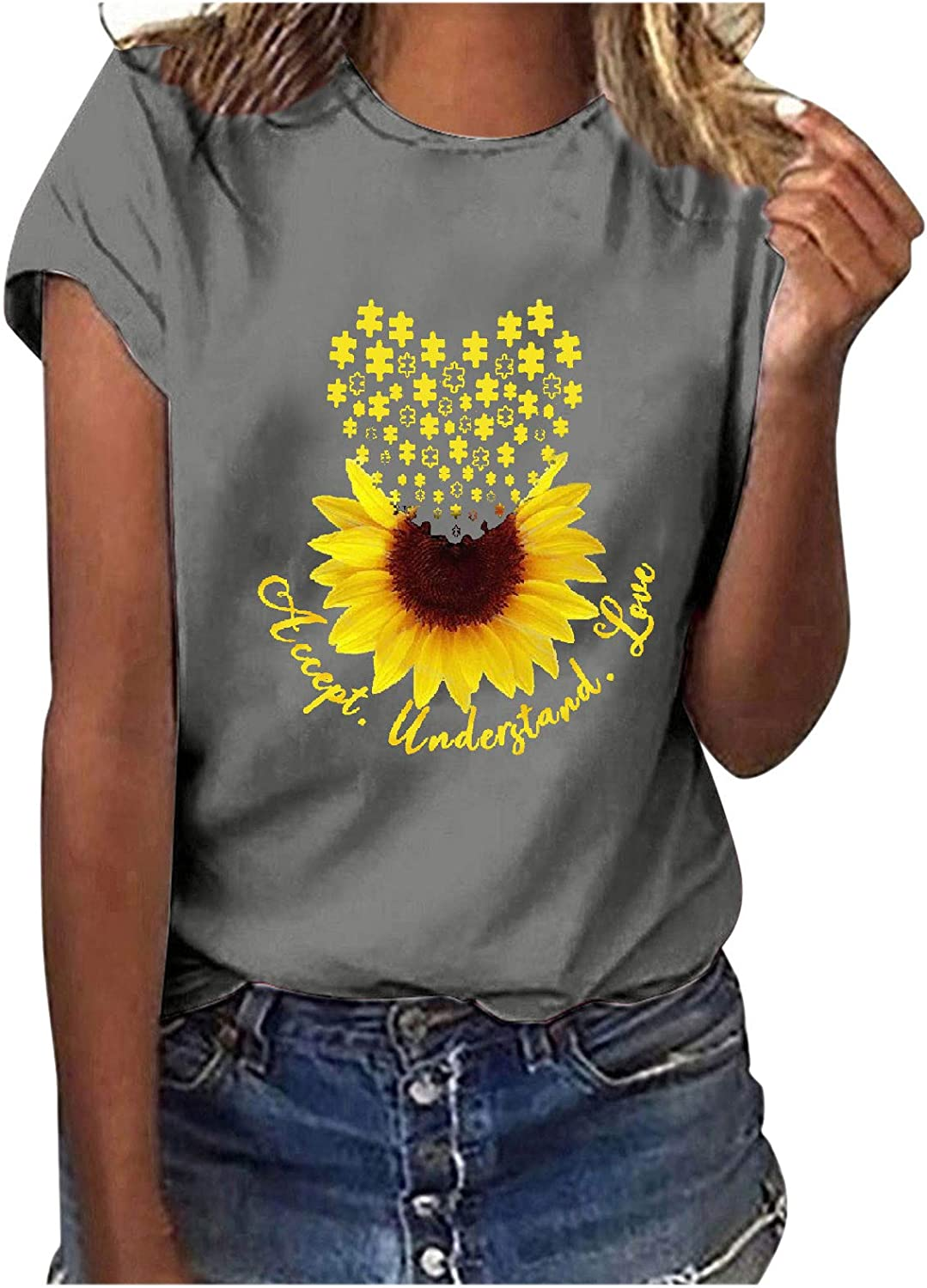 NIANTIE Summer Tops for Women, Women's Shirts Casual Summer Sunflower Graphic Tops Sleeveless Holiday Tees Blouses Tunic