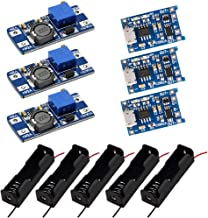 KeeYees TP4056 Charging Board with Protection + MT3608 DC to DC Step Up Boost Converter + 5PCS Single Battery Holder