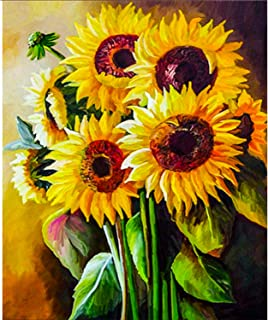 DIY 5d Diamond Painting by Number Kits Crystal Rhinestone Art Craft for Home Wall Decor, Sunflowers