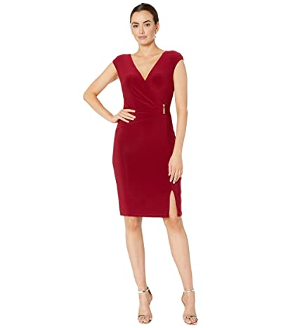 LAUREN Ralph Lauren Aideena w/ Trim Dress (Vibrant Garnet) Women