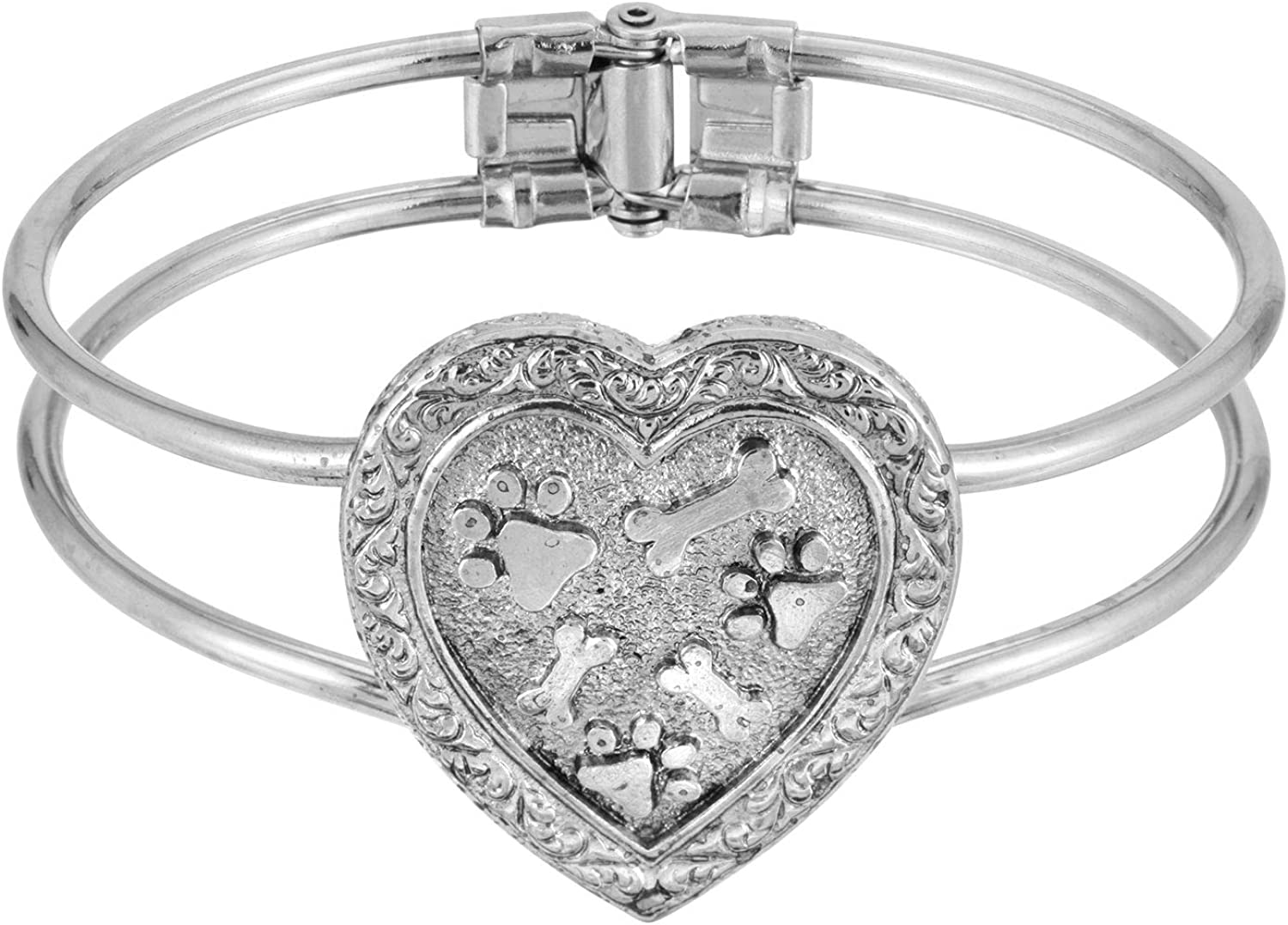 1928 Jewelry Pewter Paws and Bones Heart Cuff Bracelet