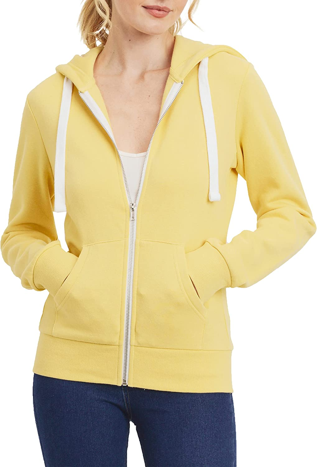 PAC Women's Comfortable Soft Fleece Casual Lightweight Active Thin Zip-Up Hoodie Jacket With Two Pockets