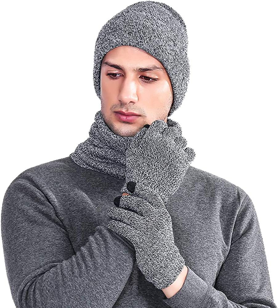 Winter Soft Beanie Hat Cap Scarf Touch Screen Gloves Knitted 3PC Set for Men Women Christmas Gift New Year Gift